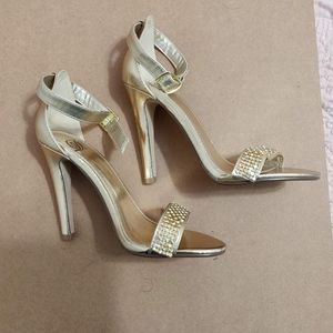 Sparkle Gold High Heel Strappy Sandals